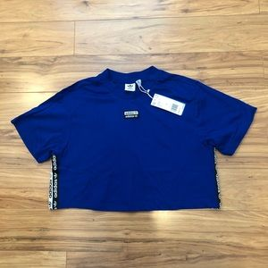 Adidas Tape Crop Tee EC0764 Blue Size Large NEW